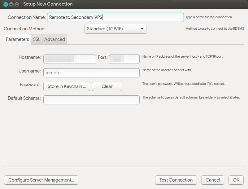 Jendela penyiapan koneksi baru MySQL Workbench untuk akses jarak jauh konsol MariaDB
