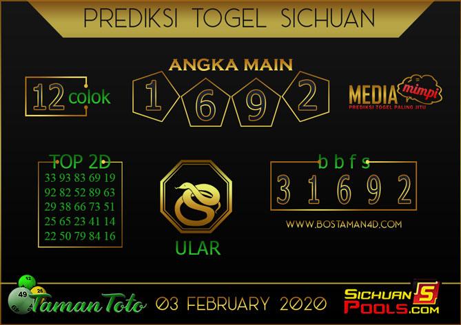 Prediksi Togel SICHUAN TAMAN TOTO 03 FEBRUARY 2020