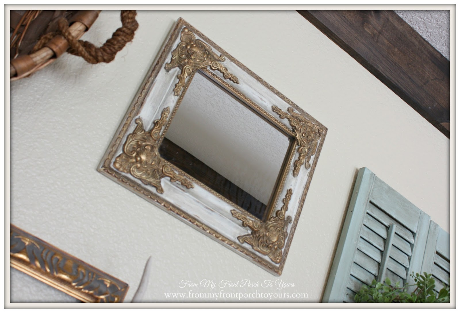 Updated vintage gold mirror- Gallery Wall-From My Front Porch To Yours