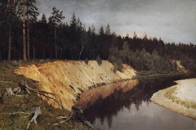 Исаак Ильич Левитан - Лесистый берег. Сумерки. 1892