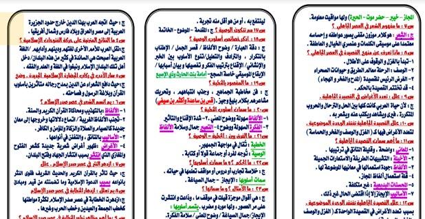 مذكرة مراجعة الأدب للصف الأول الثانوي الترم الاول