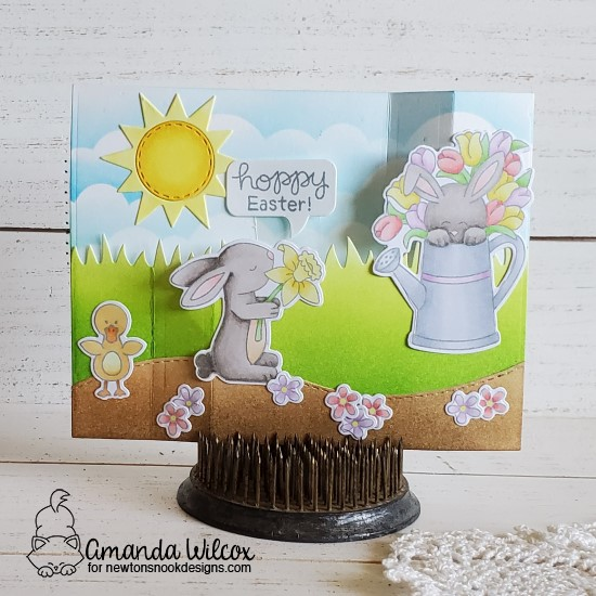 Hoppy Easter Wiper Surprise Card by Amanda Wilcox | Hop Into Spring Stamp Set, Land Borders Die Set, Clouds Stencil and Sky Scene Builder Die Set by Newton's Nook Designs #newtonsnook #handmade