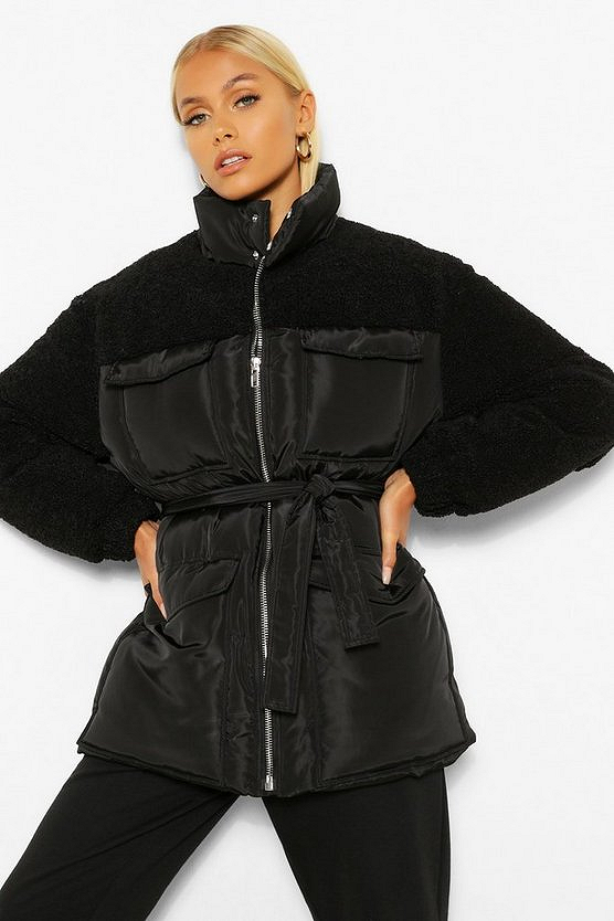 Teddy Faux Fur Mix Belted Puffer