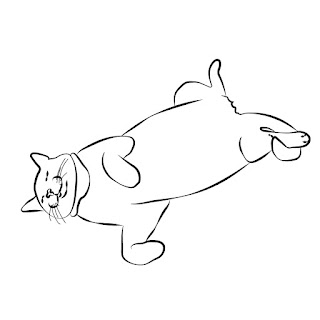 line drawing cat sleeping upside down black and white