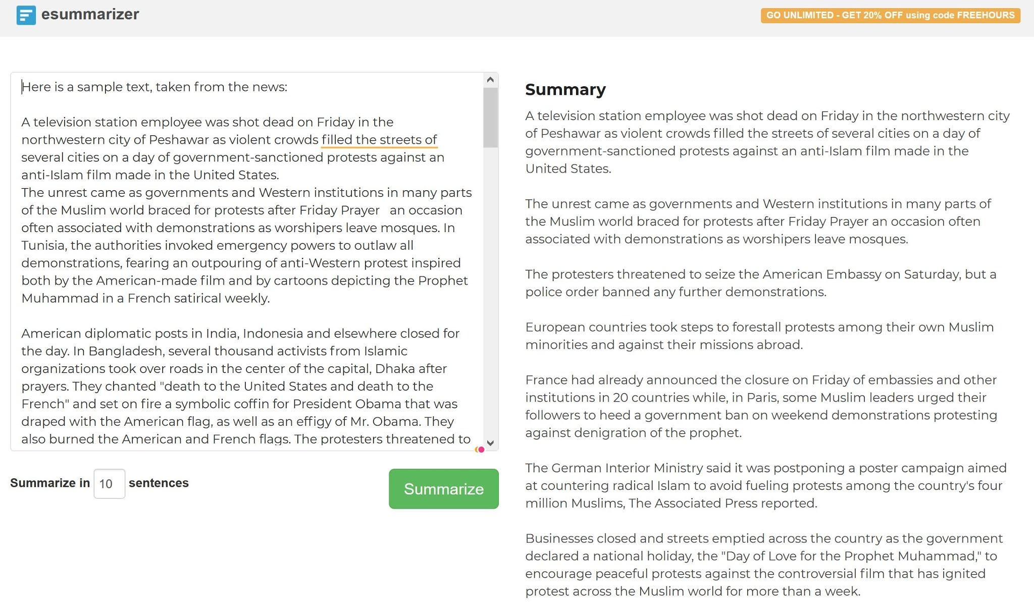 كيف اختصر مقال/كستند/ تقارير مكتوب باللغة الانجليزية؟