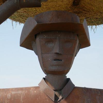 Goldstone, Montana, sculpture, bale, prairie