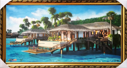 tranh phong cảnh resort