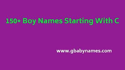 Boy Names Starting With C