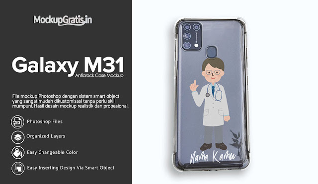 Mockup Custom Case Anticrack Samsung Galaxy M31 Transparan