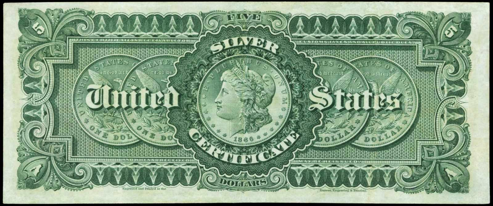 rare US currency bills 1886 Five Dollar Silver Certificate Morgan Back