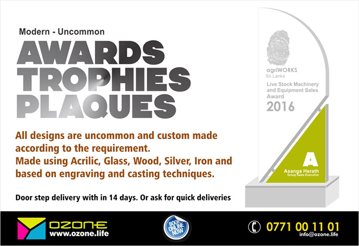 Modern and uncommon Trophies, Awards, Plaques  All designs are uncommon and custom made according to the requirement. Made using Acrylic, Glass, Wood, Silver, Iron and based on engraving and casting techniques.  Door step delivery with in 21 days. Or ask for quick deliveries