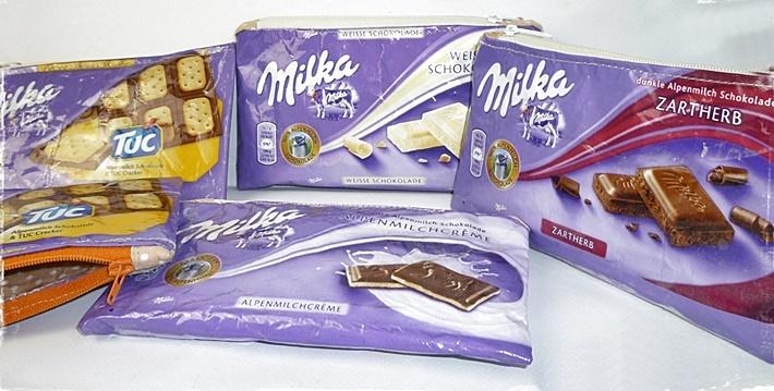 5 Taeschchen aus Milka Schokoladenpapier