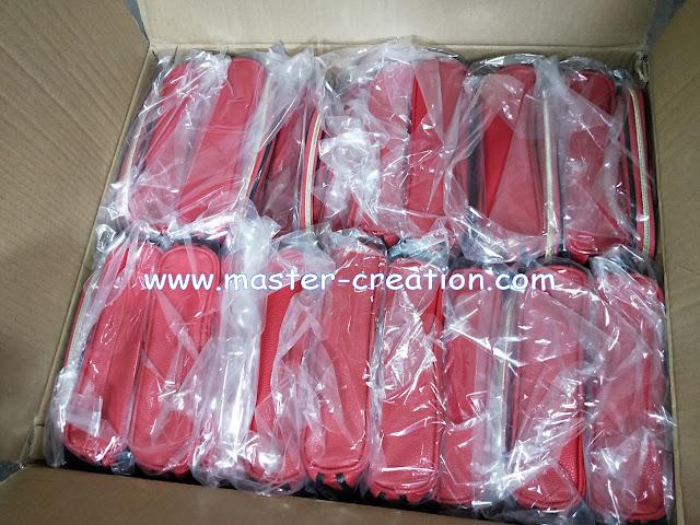 red lady makeup bag