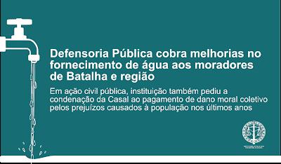 Defensoria Pública cobra melhorias no fornecimento de água aos moradores de Batalha e região