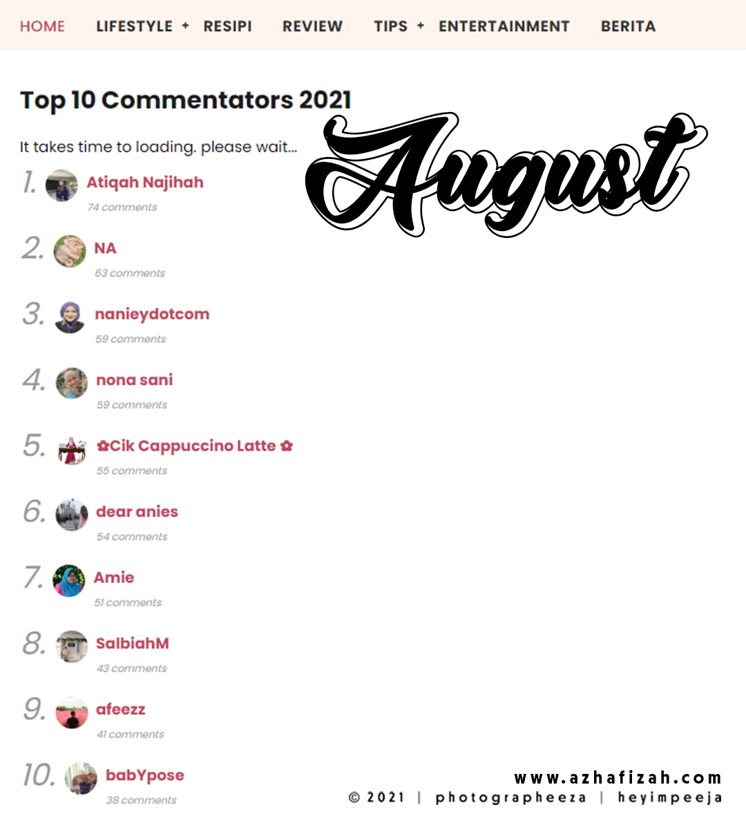 Top 10 Komentator August 2021 Blog Sihatimerahjambu