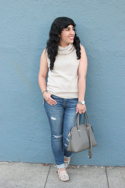 Sleeveless Knit Top and Madewell Rip and Repair Denim Outfit