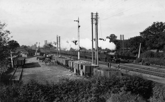 Photograph of Marshmoor sidings, Great Northern Railway image from a postcard c.1900