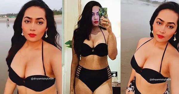 Divya Mistry in black bikini flaunts her fine curves