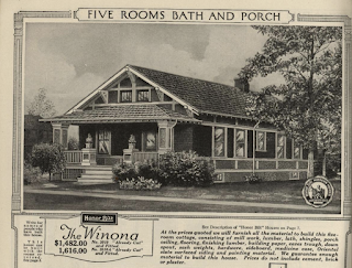 black and white image of early Sears Winona with five piece brackets, from the 1921 Sears Modern Homes catalog
