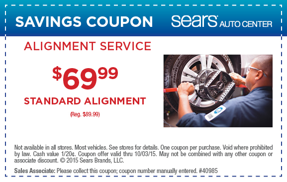Sears auto coupons can be used for all these items. Sears auto centre coupons for all those jobs requiring a service centre mechanic, Sears alignment coupons for realigning those wheels and Sears automotive coupons for those oil and fluid purchases you make to check and top up your auto at home.
