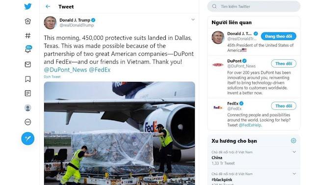 Tổng thống Donald Trump bất ngờ cảm ơn 'những người bạn Việt Nam'