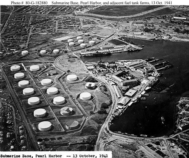 Fuel storage tanks at Pearl Harbor worldwartwo.filminspector.com