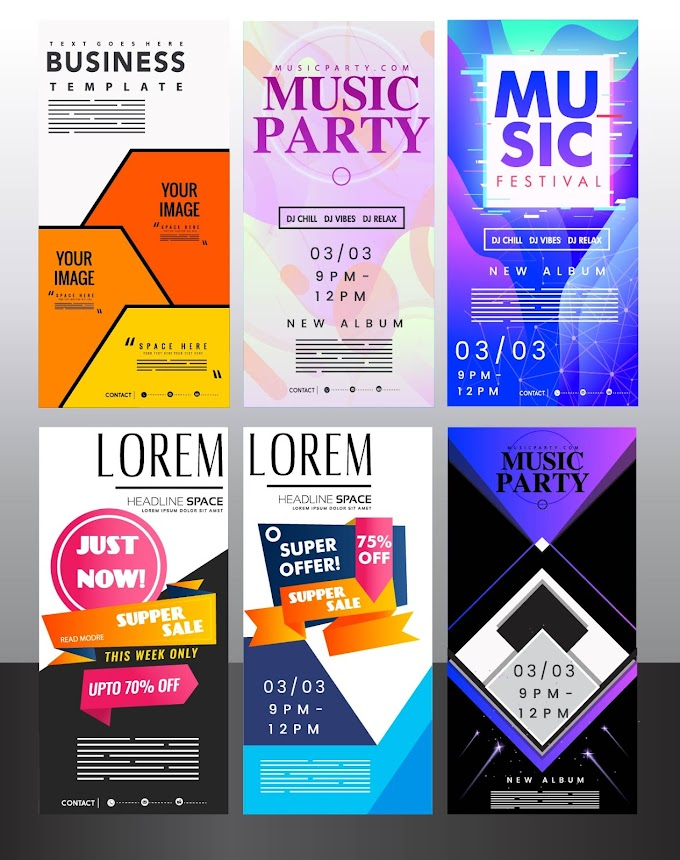 Advertising poster templates colorful modern vertical standee design Free vector