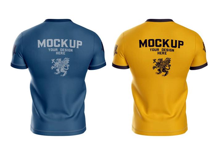Mens Sports T Shirt Mockup Back Side
