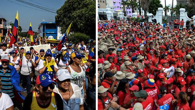 Chavistas y opositores marcharon este martes en Caracas