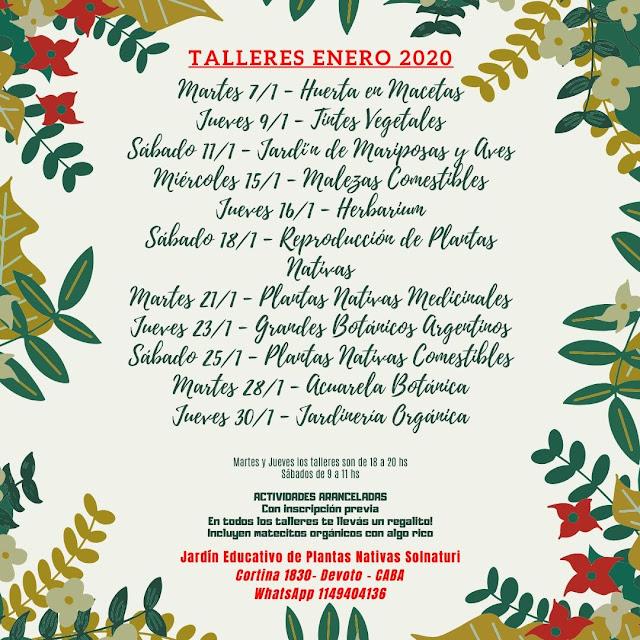 Talleres Ambientales Enero 2020 en Solnaturi
