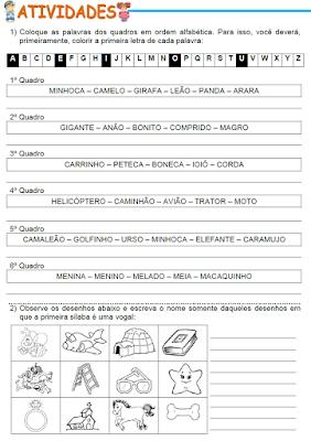 Atividades - Ordem alfabética, Palavras cuja sílaba inicial é uma vogal, Listas de palavras e Palavras com S e SS