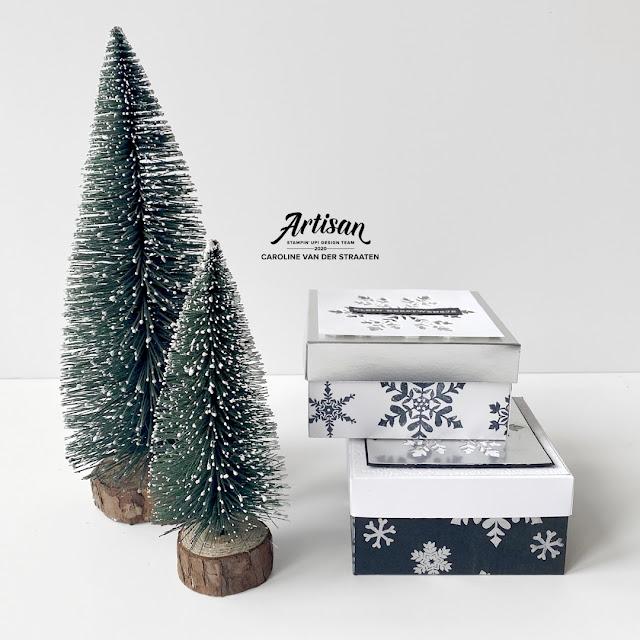 Stampin' Up! - Winterwensen verpakking / cadeaudoosje  - Snowflake wishes christmas gift box - Caro's Kaartjes - Artisan Design Team 2020