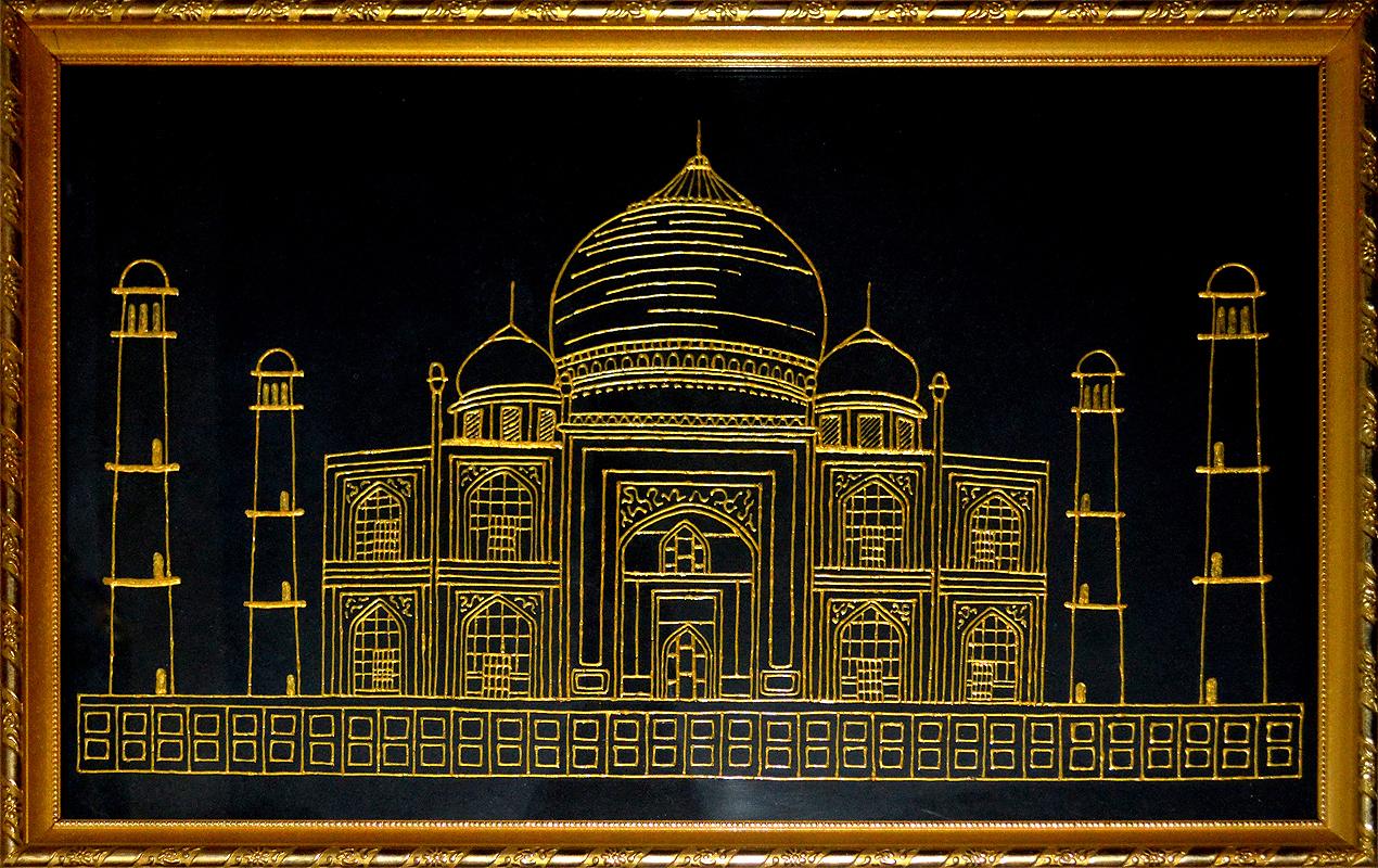 Cristal Art Blog: Glass Painting of the Taj Mahal in Gold