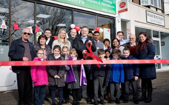 Photograph of Welwyn Hatfield MP, Grant Shapps, opening the post office at Charlies Valet in February 2018 Image from the Peter Miller collection
