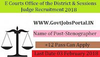 District & Sessions Judge, Karnatka Recruitment 2018 – Stenographer