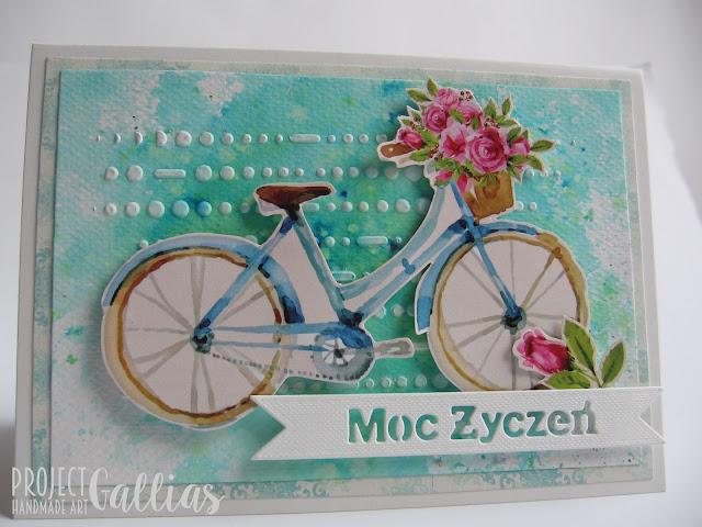 Radosna kartka z rowerem