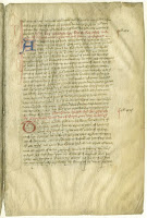 A color scan of a page from the Brut chronicle, including two decorative initials in red and blue.