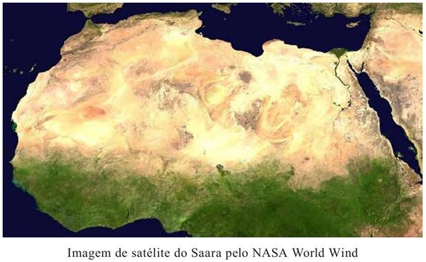 Imagem de satélite do Saara pelo NASA World Wind