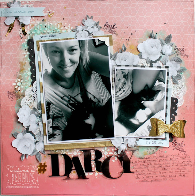 """Darcy"" layout by Bernii Miller for Sugar Maple Paper Co using the It's Raining Men kit."