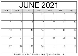 Free Printable Calendar June 2021