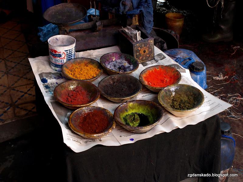 Marrakesz - Suk farbiarzy wełny