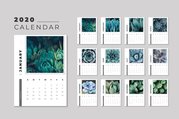 Floral 2020 calendar template Free Vector Templates