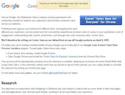 Poisson d'Avril 2011 de Google : Comic Sans For Everyone