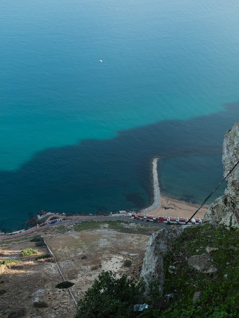 Looking down at the water from the top of the Rock of Gibraltar.