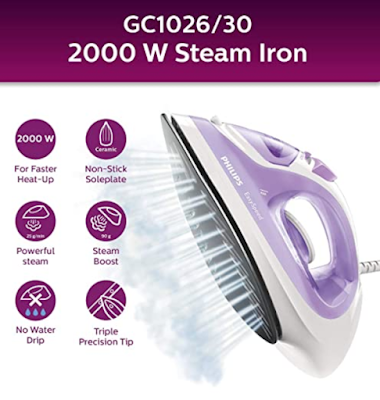 Philips EasySpeed GC1026/30 2000-Watt Soleplate Steam Iron with Constant High Steam Output and Heats Up Quickly