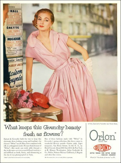 Suzy Parker Modeling Pink Givenchy Shirtwaist Dress in Dupont Orlon