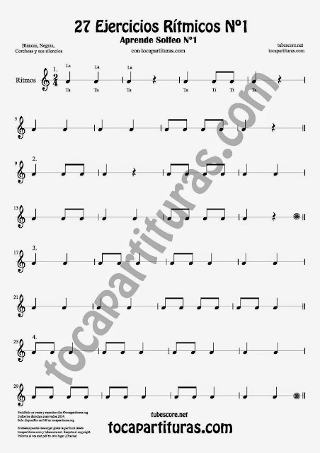 27 Ejercicios Rítmicos para Aprender Solfeo en el Compás de 2/4 Aprender negras, corcheas, blancas y sus silencios. Easy Rithm Sheet Music for quarter notes, half notes, 1/8 notes and silences