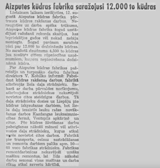 Kurzemes Vārds Aizputes Kūdras fabrika