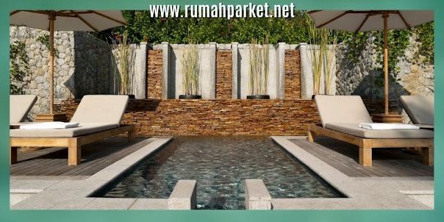 decking samping kolam renang - dcking batu alam
