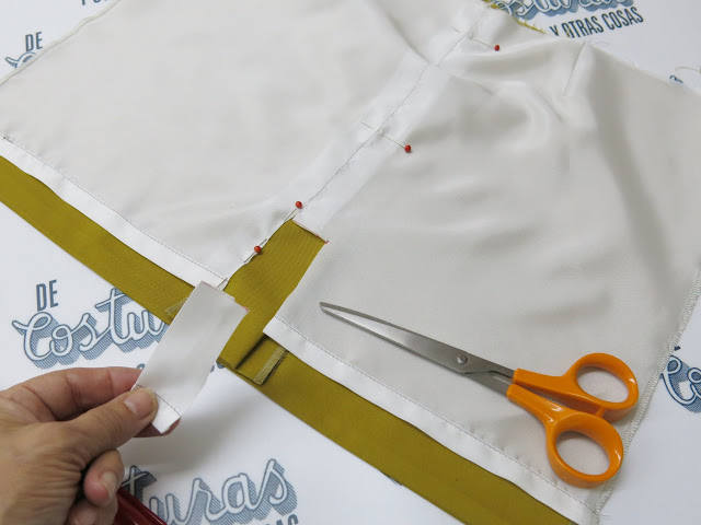 como forrar falda con abertura y vista